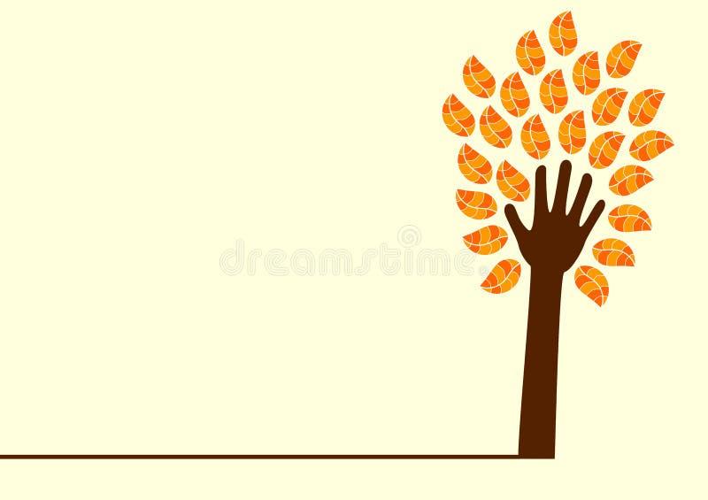 Árbol y hojas de la mano stock de ilustración