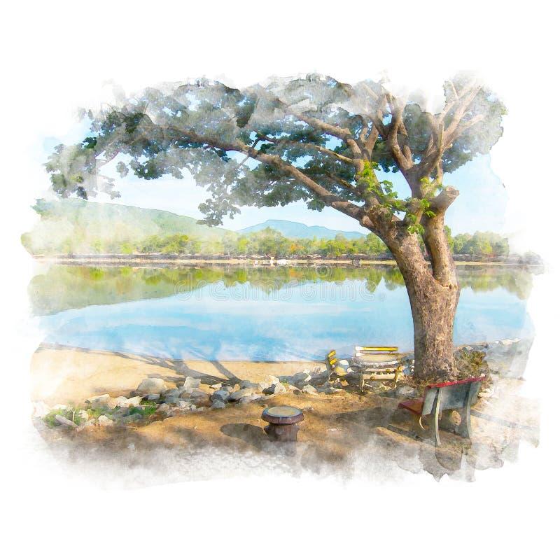 Árbol y lago grandes de lluvia libre illustration