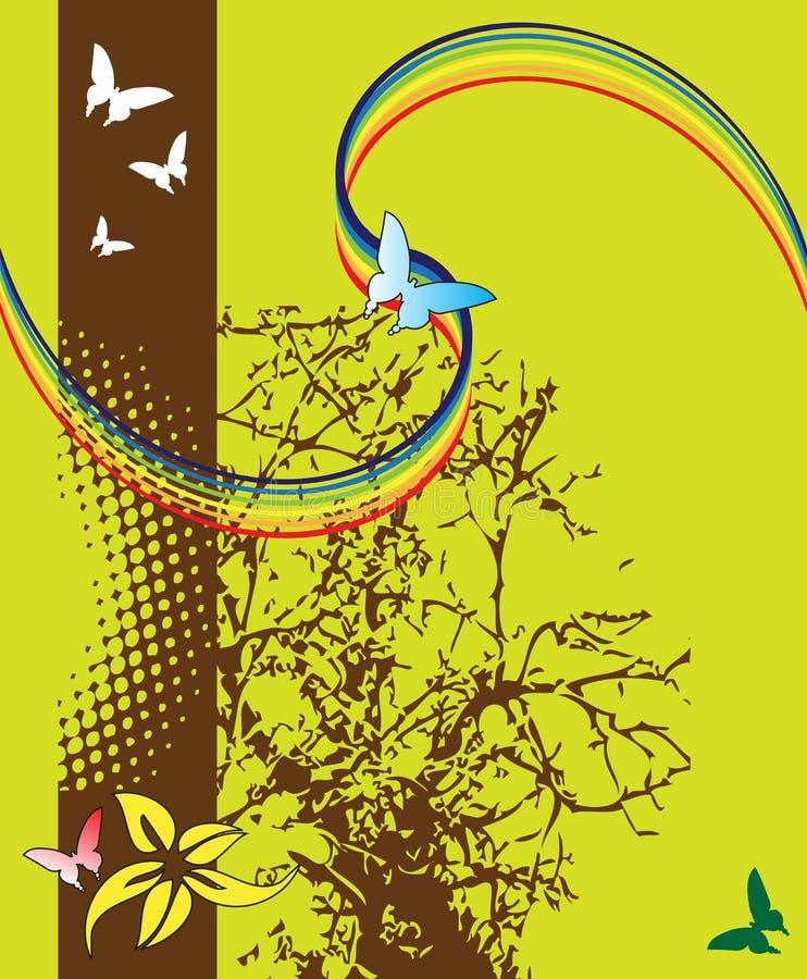 Árbol y mariposas abstractos ilustración del vector