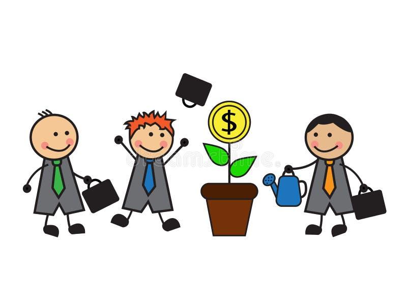 Árbol y negocio del dinero stock de ilustración