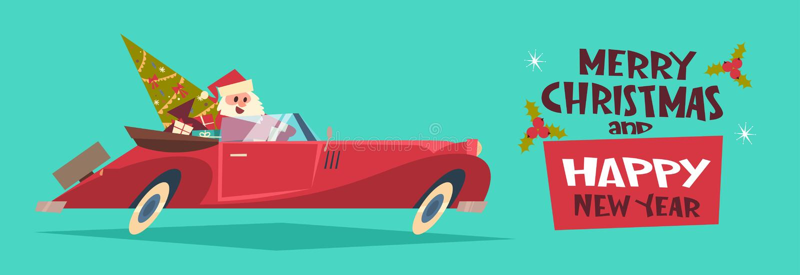 Árbol y presentes del verde de Santa Driving Retro Car With del fondo de la Feliz Navidad y del cartel de la Feliz Año Nuevo hori stock de ilustración