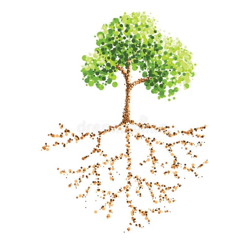 Árbol y raíz stock de ilustración