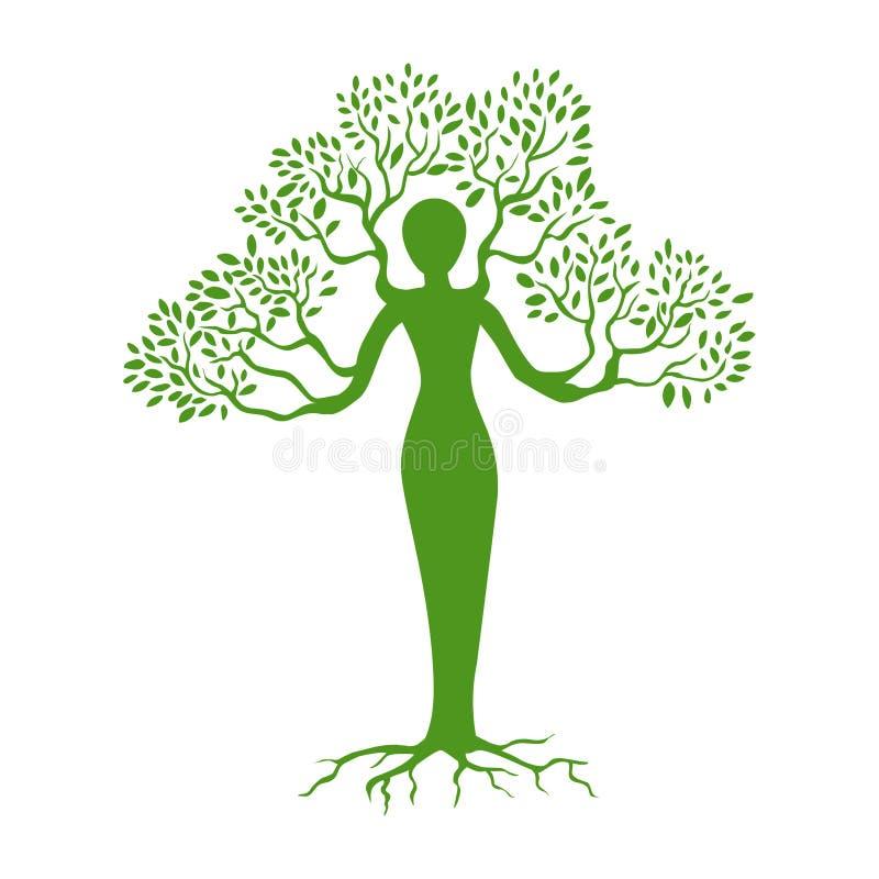 Árbol y ser humano Vector humano del árbol stock de ilustración