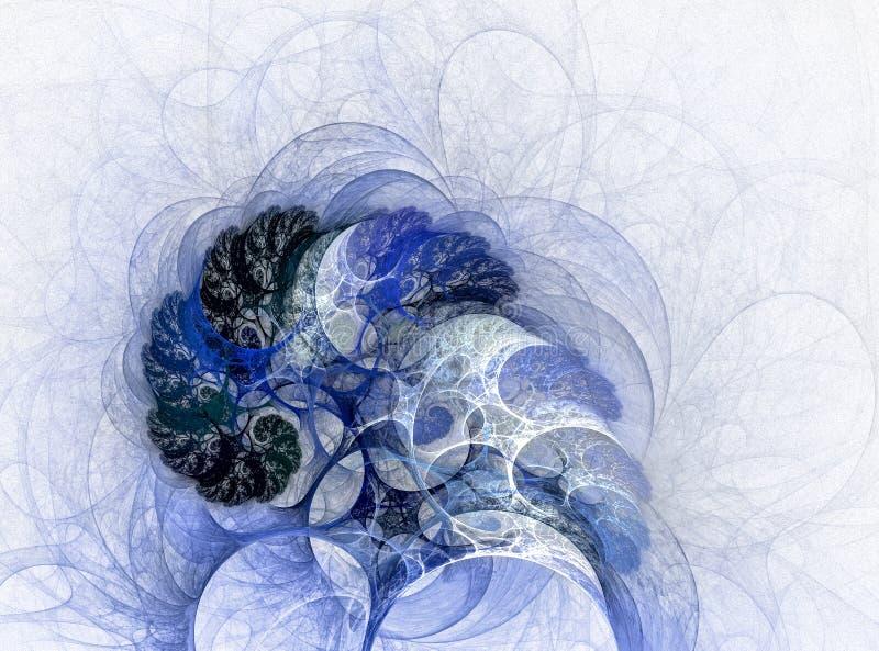 Árboles abstractos del fractal en la nieve libre illustration