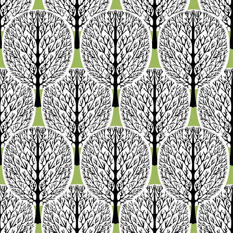 Árboles abstractos modelo inconsútil, ejemplo del vector, bosque estilizado, dibujo del vintage Troncos de árbol negros adornados stock de ilustración