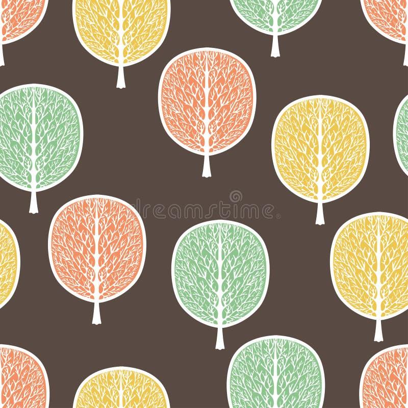 Árboles abstractos modelo inconsútil, ejemplo del vector, bosque estilizado del otoño, dibujo del vintage Troncos de árbol adorna stock de ilustración