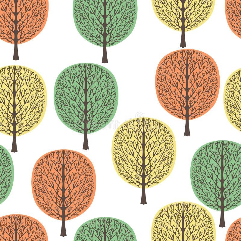 Árboles abstractos modelo inconsútil, ejemplo del vector, bosque estilizado del otoño, dibujo del vintage Troncos de árbol adorna ilustración del vector
