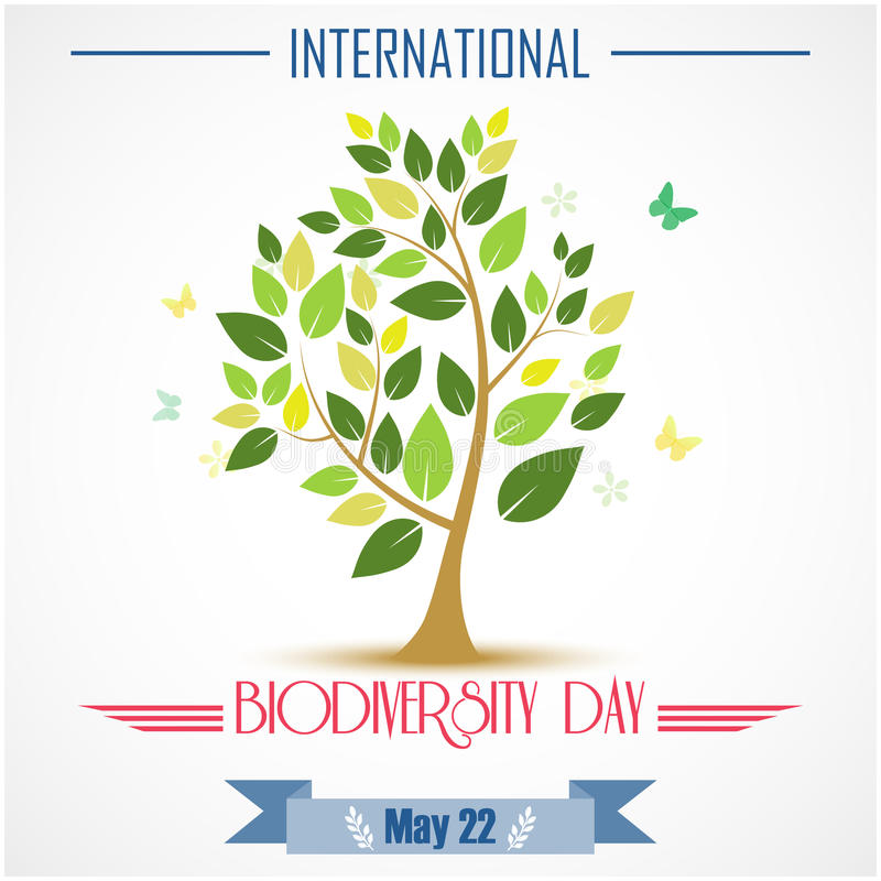 Árboles abstractos para el día del international de la biodiversidad ilustración del vector