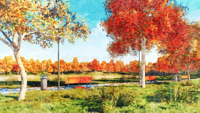 Árboles coloridos del otoño en paisaje de la acuarela del parque stock de ilustración