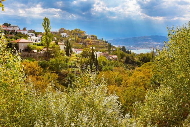 Árboles coloridos del otoño y opinión aérea del pueblo de montaña foto de archivo libre de regalías