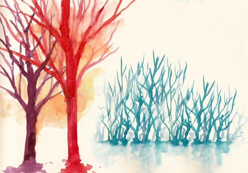 Árboles coloridos en color de agua del fondo del invierno libre illustration