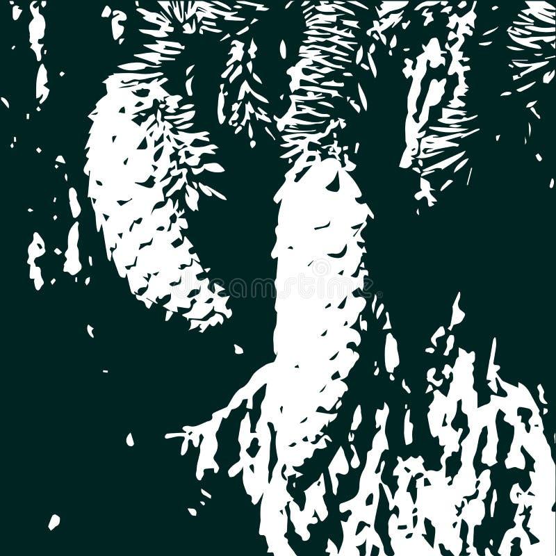 Árboles coníferos y conos ilustración del vector