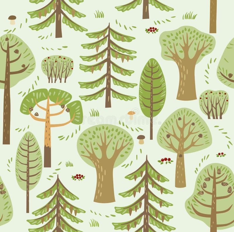 Árboles coníferos y de hojas caducas del bosque del verano diversos crecen en un fondo verde Entre ellos, setas, bayas y arbustos stock de ilustración