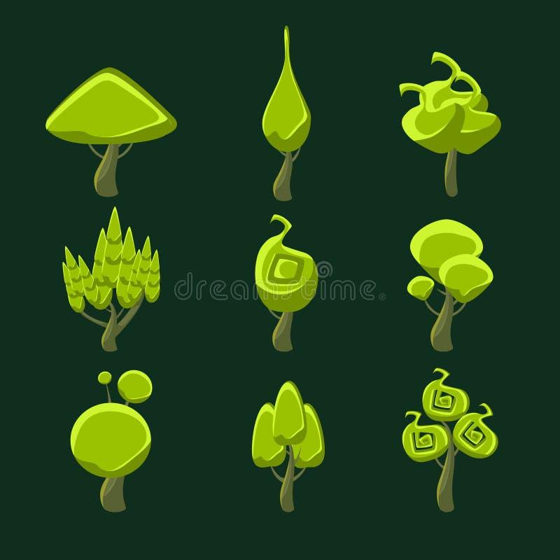 Árboles con el sistema extraño de la corona de la forma stock de ilustración
