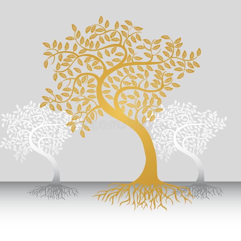 Árboles con las raíces ilustración del vector