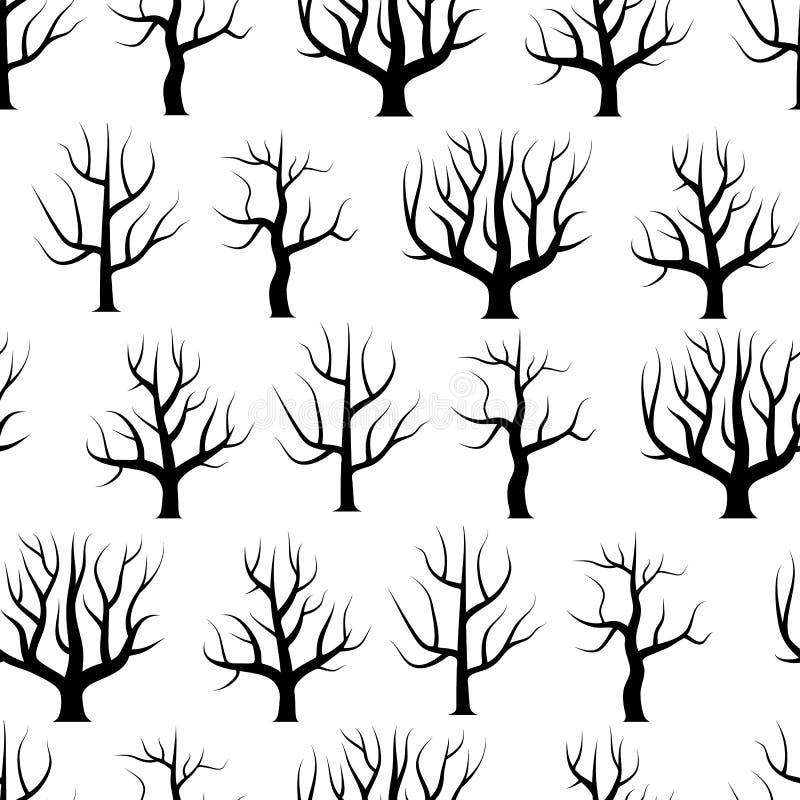 Árboles curvados blancos y negros inconsútiles sin fondos de las hojas libre illustration