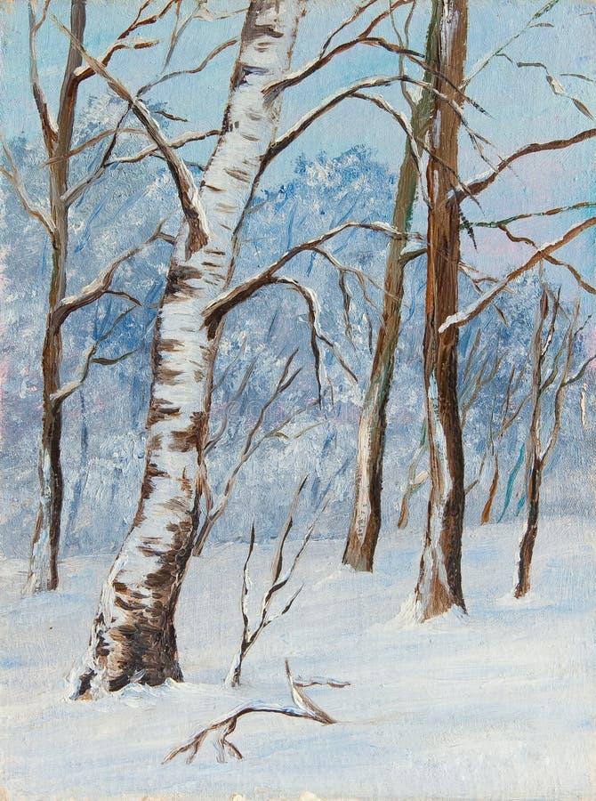 Árboles de abedul del paisaje del invierno en la nieve en una lona Pintura al óleo original stock de ilustración