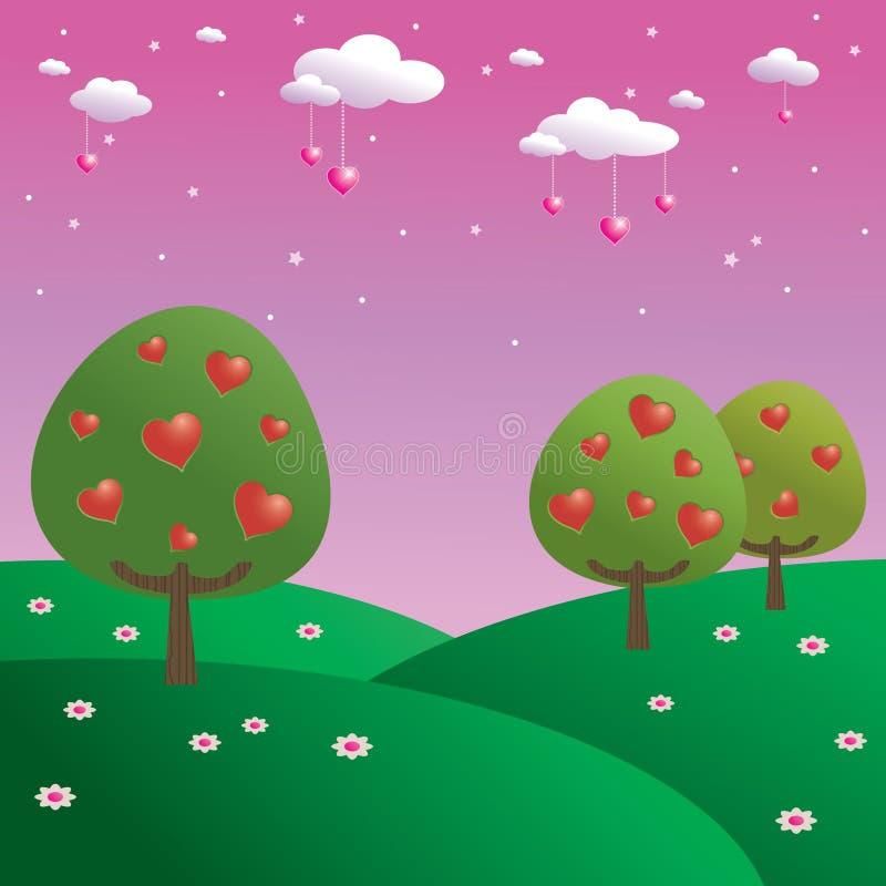 Árboles de corazones ilustración del vector