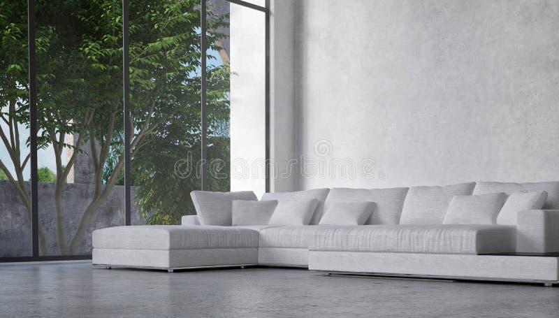 Árboles de desatención interiores del salón en un patio ilustración del vector