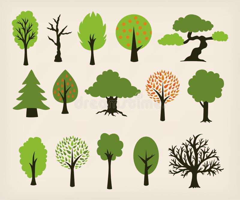 Árboles de la historieta ilustración del vector