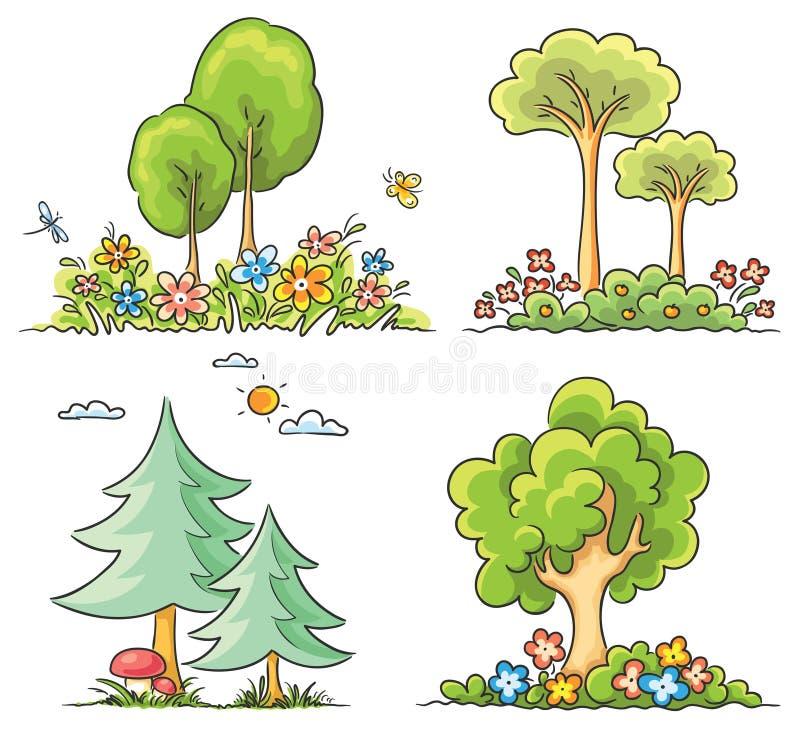 Árboles de la historieta con las flores ilustración del vector