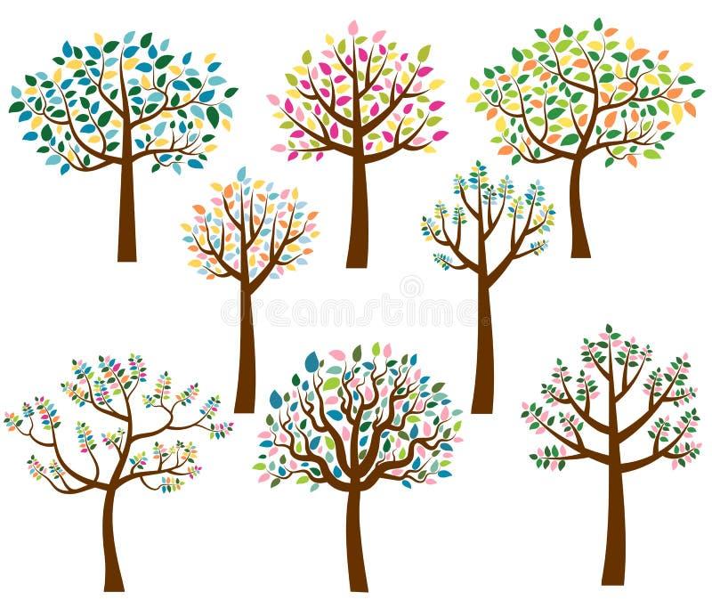 Árboles de la historieta con las hojas coloridas ilustración del vector