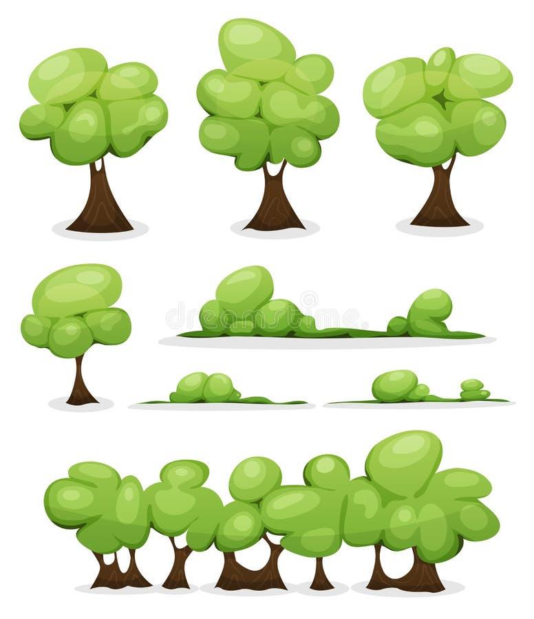 Árboles de la historieta, setos y hojas de Bush fijadas ilustración del vector
