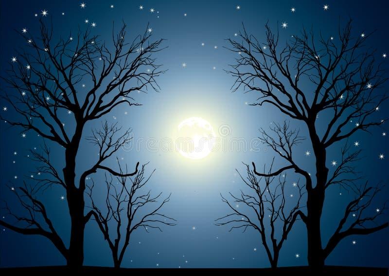 Árboles de la luna stock de ilustración