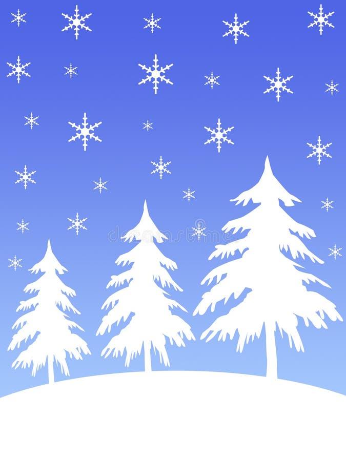 Árboles de la montaña de la nieve stock de ilustración