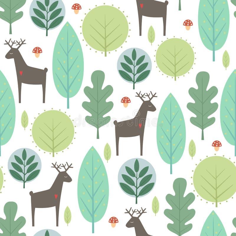 Árboles de la primavera y modelo inconsútil de los ciervos en el fondo blanco libre illustration