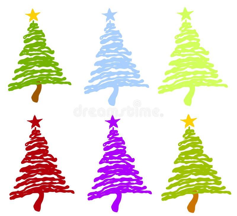 Árboles de navidad únicos de Artsy ilustración del vector