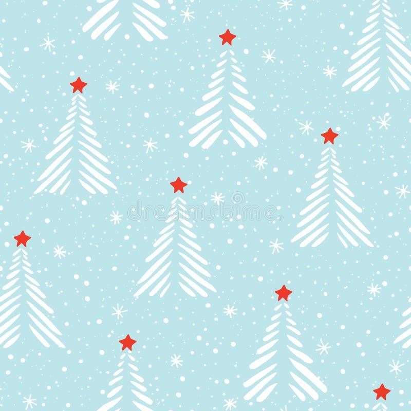 Árboles de navidad abstractos del linocut exhausto de la mano, nieve, fondo inconsútil del modelo del vector de las estrellas Esc stock de ilustración