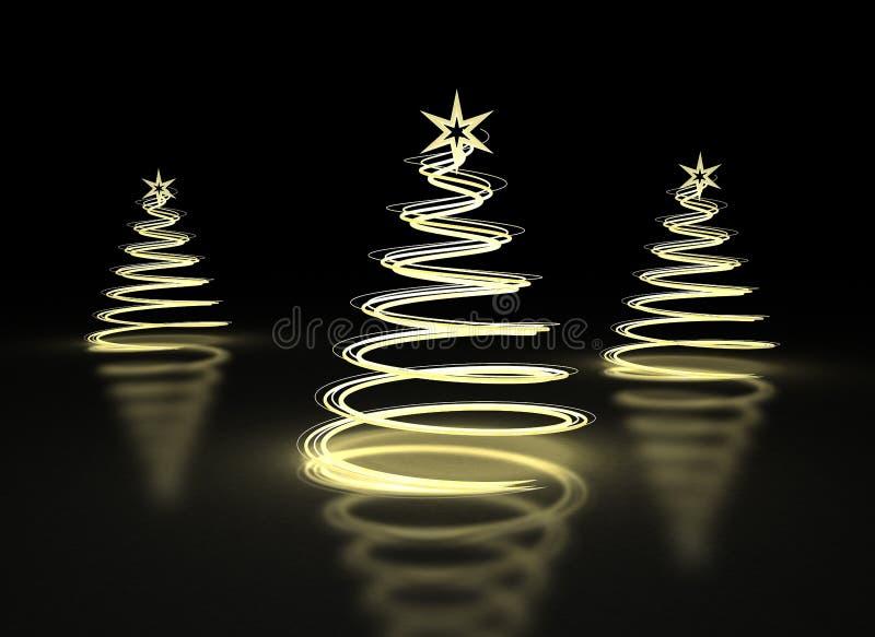 Árboles de navidad de oro abstractos en fondo oscuro ilustración del vector