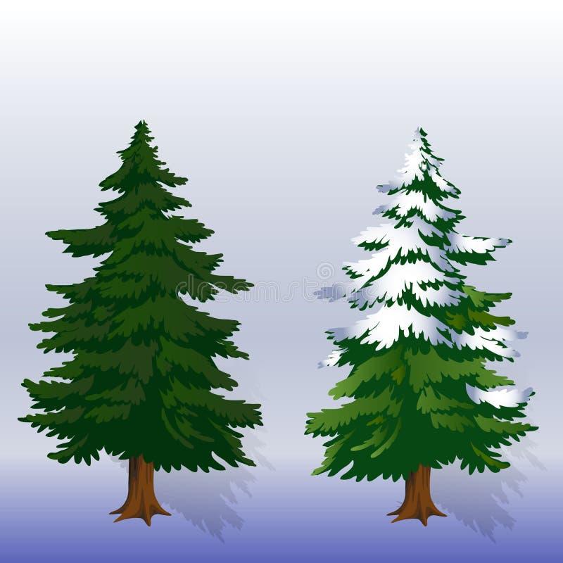 Árboles de navidad del ejemplo dos del invierno en el bosque en una luz ilustración del vector