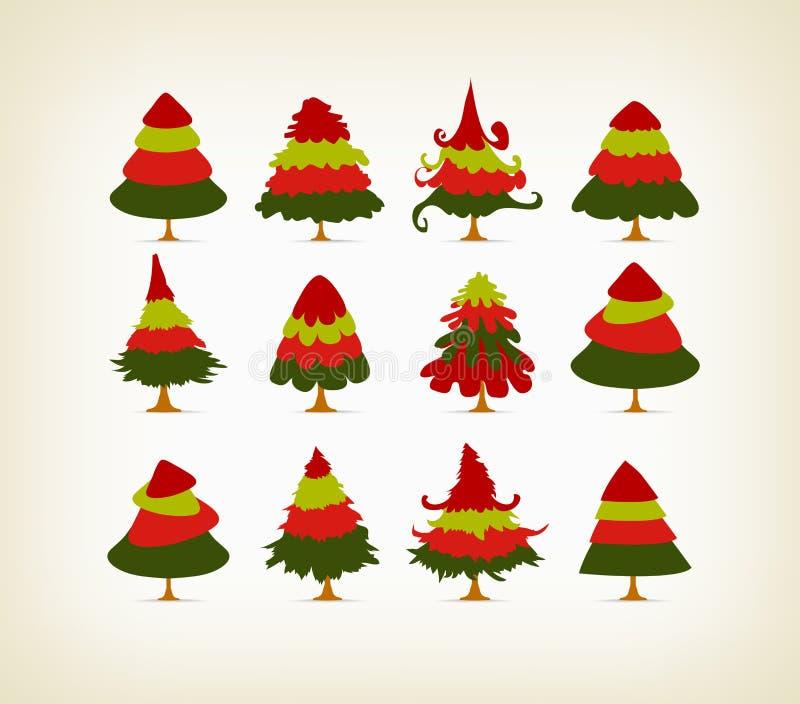 Árboles de navidad del vintage fijados libre illustration