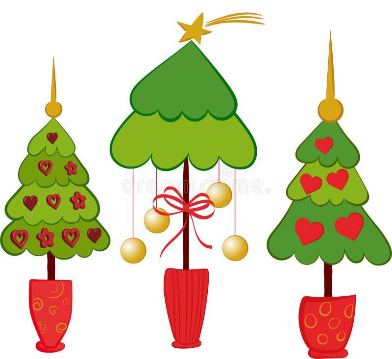 Árboles de navidad, ejemplo por días de fiesta stock de ilustración