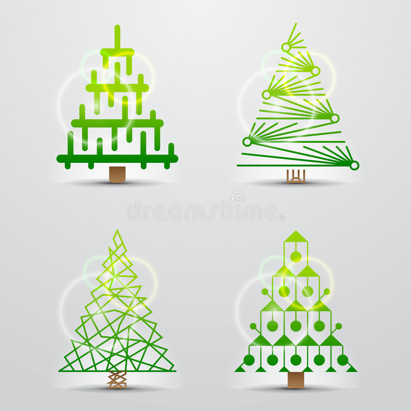 Árboles de navidad. El conjunto del vector firma (los símbolos) stock de ilustración