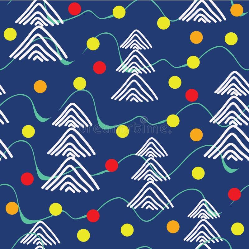 Árboles de navidad en bolas de madera y de cristal en naturaleza del invierno Ilustración del vector libre illustration