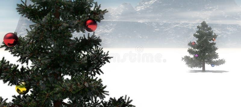 Árboles de navidad en campo de nieve ilustración del vector