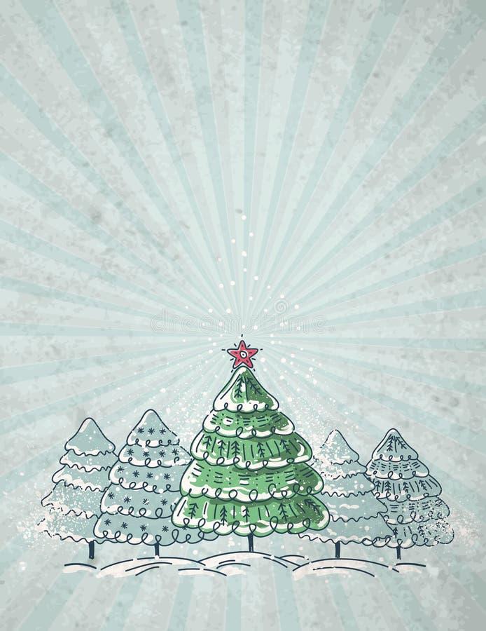 Árboles de navidad en el fondo gris, vector stock de ilustración