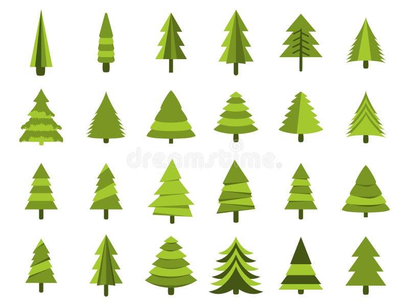 Árboles de navidad en un estilo plano Aislamiento de los abetos en un fondo blanco Vector stock de ilustración