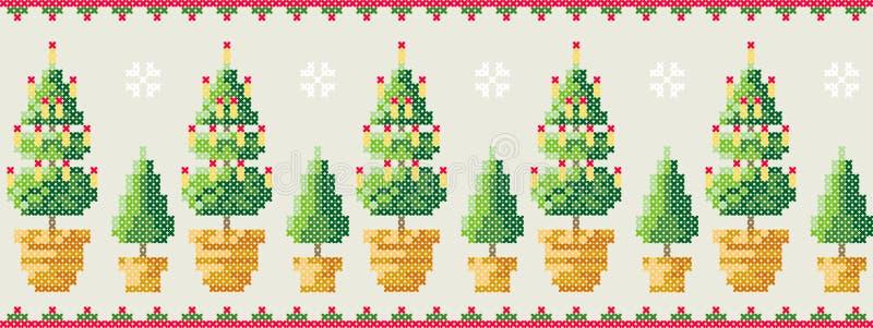 Árboles de navidad en un pote con el modelo de los copos de nieve Tarjeta de felicitación de la Feliz Navidad, ejemplo de la Feli libre illustration