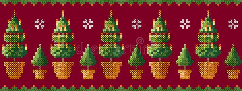 Árboles de navidad en un pote con el modelo de los copos de nieve Tarjeta de felicitación de la Feliz Navidad, ejemplo de la Feli ilustración del vector