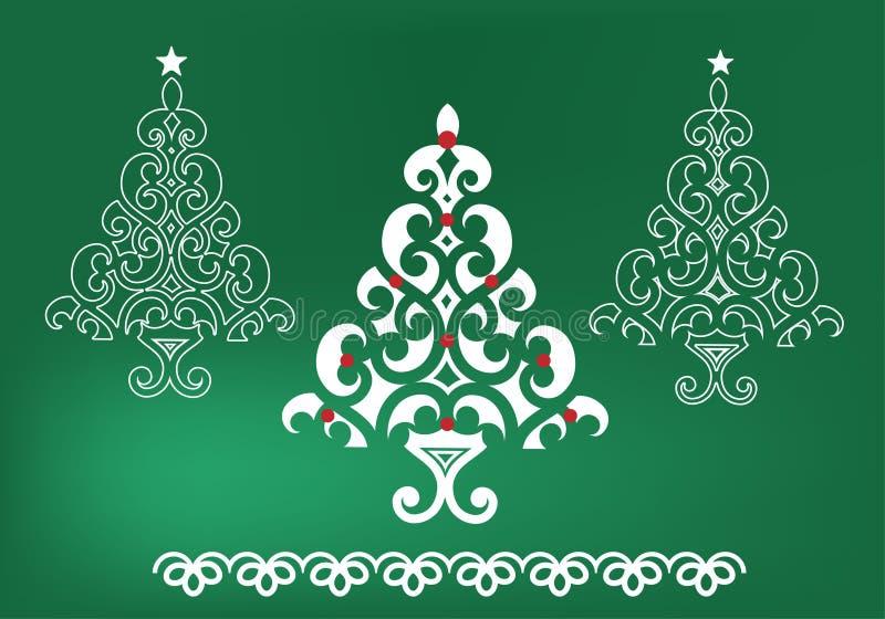 Árboles de navidad enrrollados stock de ilustración