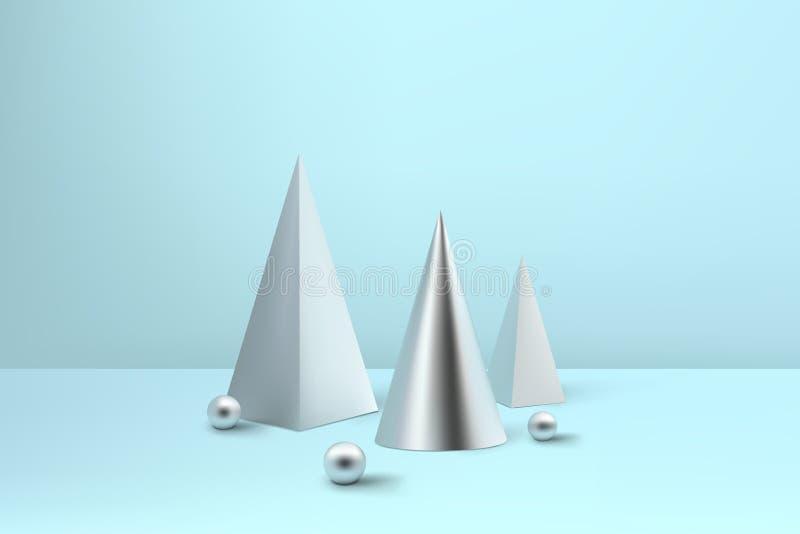 Árboles de navidad espirales brillantes abstractos Pyr metálico de la bobina de plata ilustración del vector