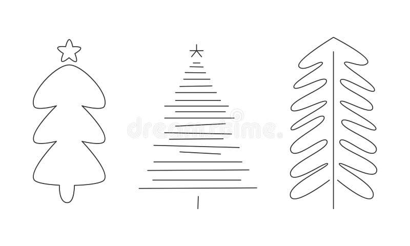 Árboles de navidad fijados, abetos de la mano, pinos o ejemplo monocromáticos exhaustos del vector de las piceas libre illustration