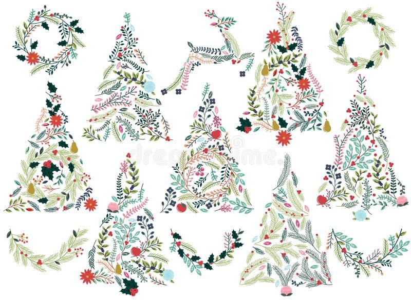 Árboles de navidad florales o botánicos stock de ilustración
