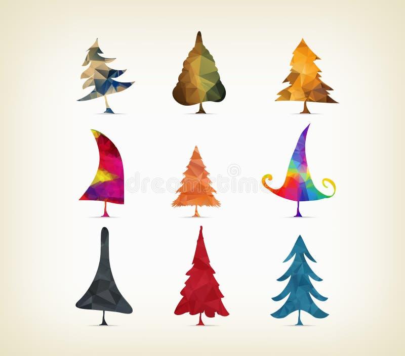Árboles de navidad geométricos aislados en un fondo blanco libre illustration