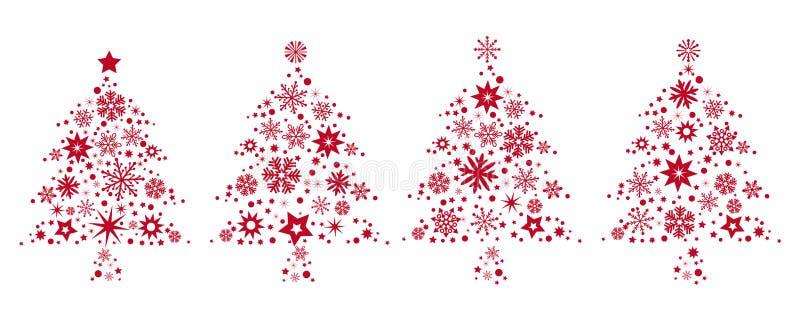Árboles de navidad rojos ilustración del vector