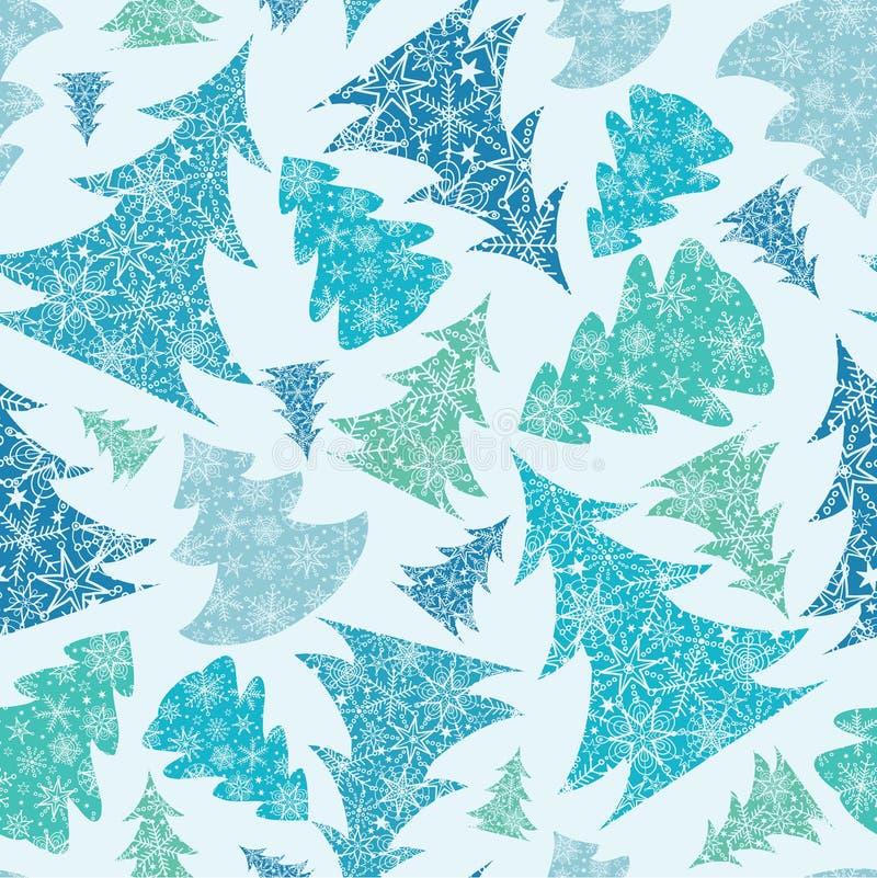 Árboles de navidad texturizados copo de nieve inconsútiles stock de ilustración
